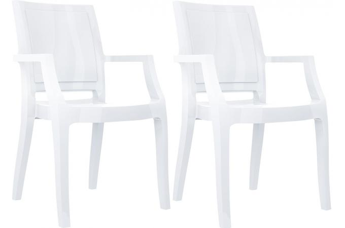 Lot de 2 chaises design blanches laqu es ally design sur - Chaises laquees blanches ...
