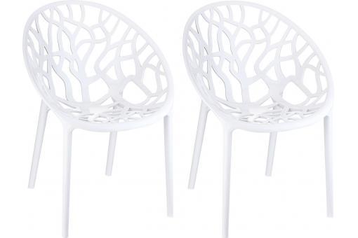 Lot de 2 chaises design blanches laqu es ceylan design pas cher sur sofactory - Chaises laquees blanches ...