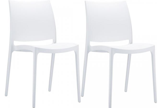 Lot de 2 Chaises design  Blanches MOOV