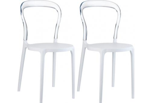 Lot de 2 Chaises design Blanches Transparentes MISTER SoFactory