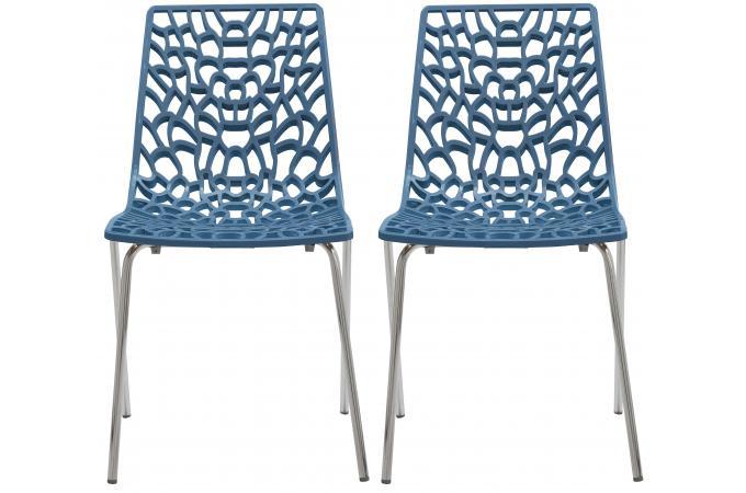 lot de 2 chaises design bleu traviola design sur sofactory. Black Bedroom Furniture Sets. Home Design Ideas