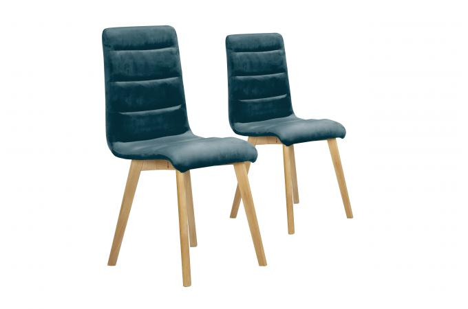 Lot De 2 Chaises Velours Bleu YALLO