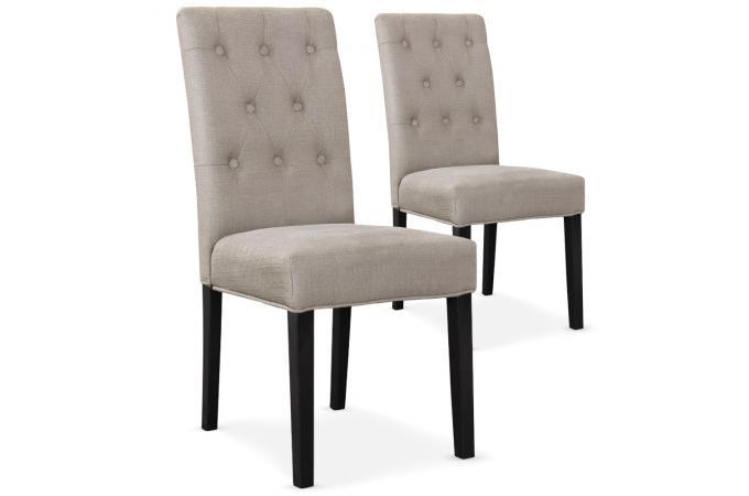 Lot De 2 Chaises Design En Tissu Beige Et Pieds Noirs HUCKL design ...
