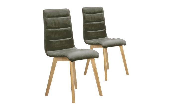 Lot De 2 Chaises Velours Gris YALLO