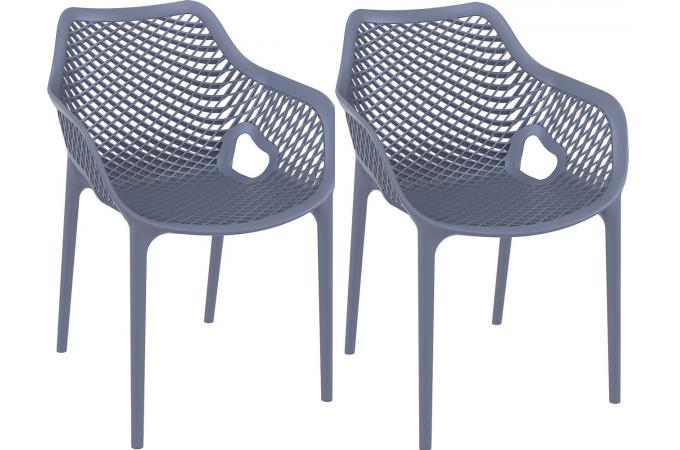 Lot de 2 Chaises design  grise anthracite ALSTA