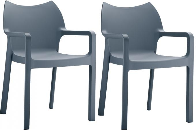 Lot de 2 Chaises design  gris anthracite DANS
