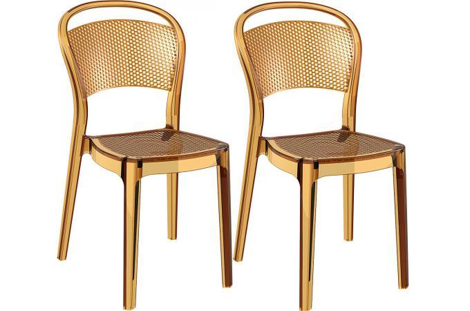 Lot De 2 Chaises Design Jaune Transparentes SOUBI