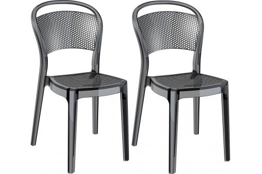 Lot de 2 Chaises design  Noires Transparentes SOUBI