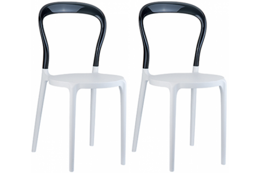 Lot de 2 chaises design noires et blanches mister design en direct de l 39 u - Chaises en polycarbonate transparent ...