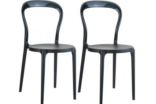 Lot de 2 Chaises design  Noires Brillantes MISTER