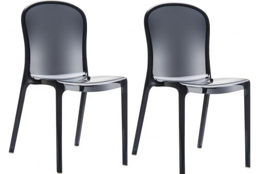 Lot de 2 Chaises design  Noires Transparentes VOLY
