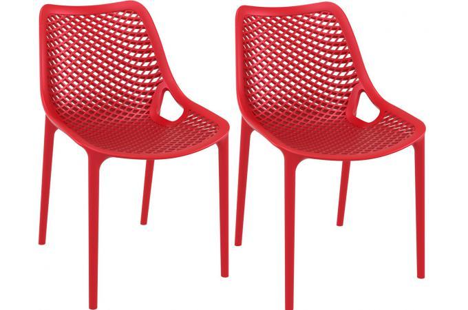 Lot de 2 chaises design rouge menaz design pas cher sur - Lot de chaise design pas cher ...