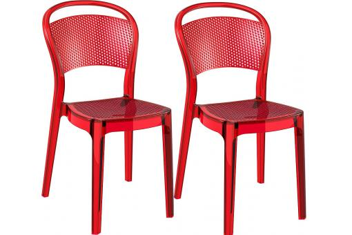 Lot de 2 Chaises design  Rouge Transparentes SOUBI