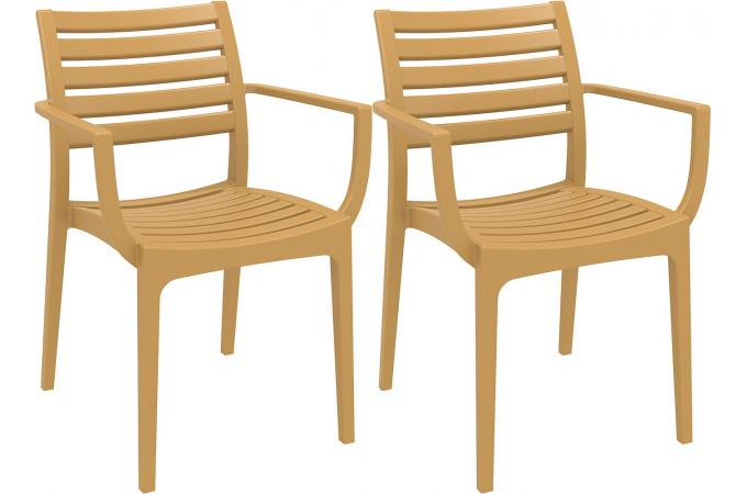 Lot de 2 Chaises design Teck PORTOS