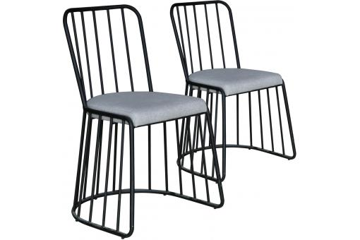 Lot de 2 Chaises Contemporaines en Métal Noir Assise Grise CHICAGO SoFactory