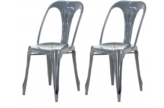 lot de 2 chaises industrielles grise métal samson design pas cher ... - Chaises Industrielles Pas Cher