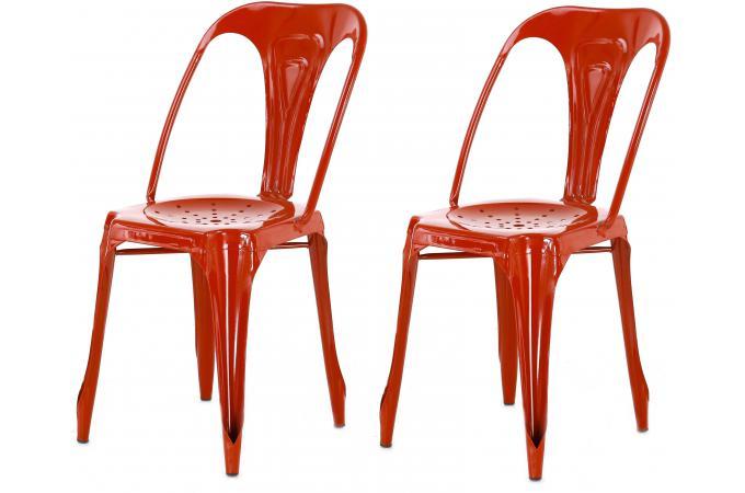 lot de 2 chaises industrielles rouge métal samson design pas cher ... - Chaises Industrielles Pas Cher