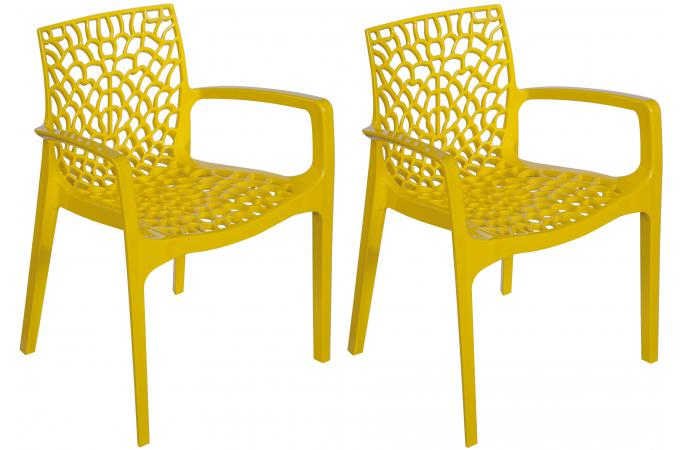 Lot De 2 Chaises Jaunes Avec Accoudoirs FILET SoFactory