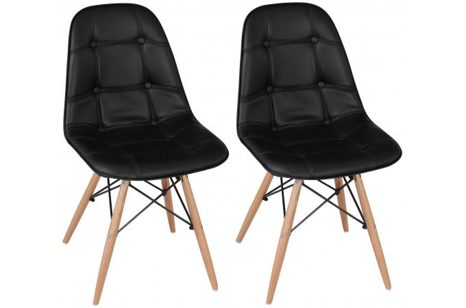 lot de 2 chaises lofi capitonn es design pieds bois noirs design pas cher sur sofactory. Black Bedroom Furniture Sets. Home Design Ideas