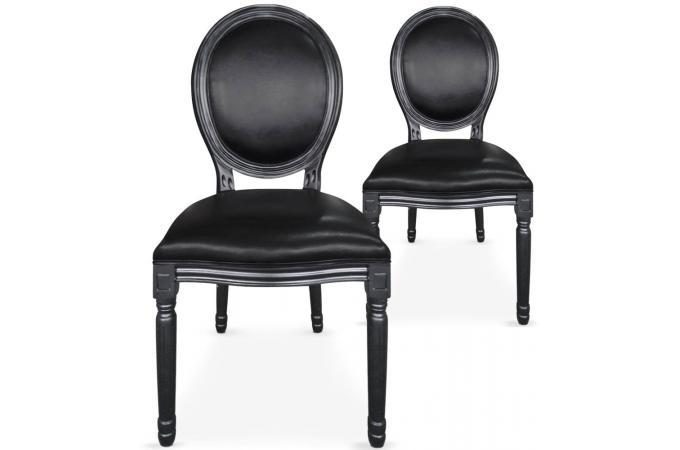 lot de 2 chaises m daillon simili noir baroque versailles design sur sofactory. Black Bedroom Furniture Sets. Home Design Ideas