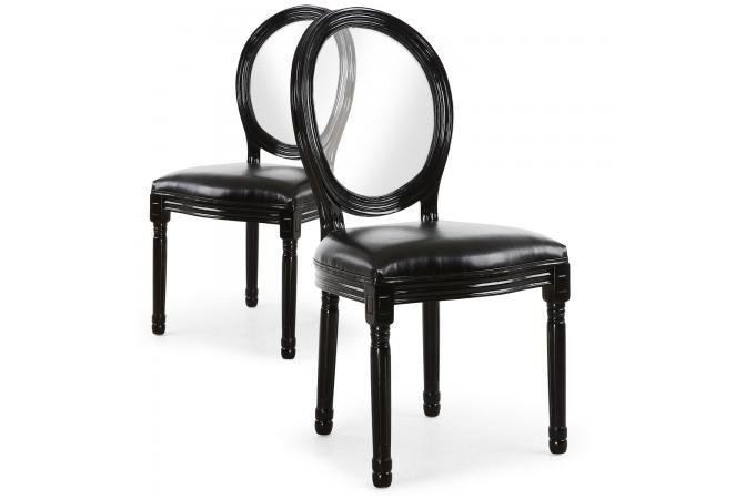 Lot de 2 chaises médaillon transparent noir sandron