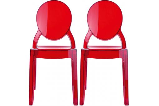 Lot de 2 chaises plexi rouge transparent BABY ELIZABETH SoFactory
