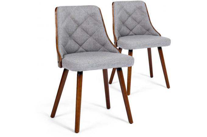 Lot de 2 chaises sandinaves bois noisette et tissu gris perig
