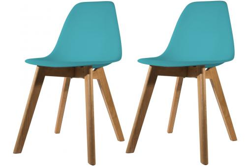 Lot de 2 chaises Scandinave Coque Bleue Canard NORWAY