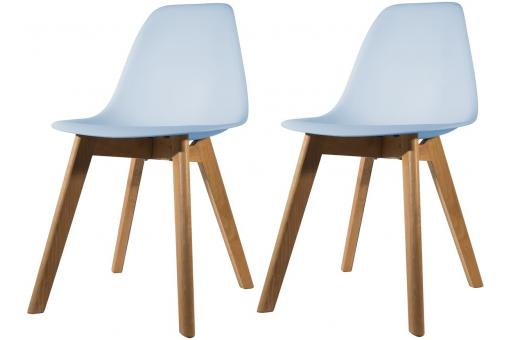 Lot de 2 chaises Scandinave Coque Bleue NORWAY SoFactory