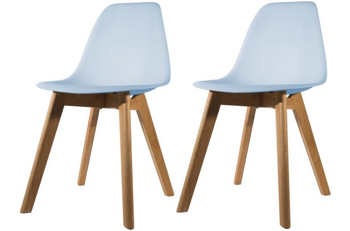 Lot de 2 chaises Scandinave Coque Bleue NORWAY