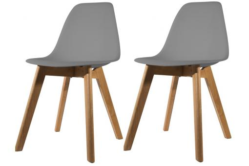 Lot de 2 chaises Scandinave Coque Grise NORWAY SoFactory