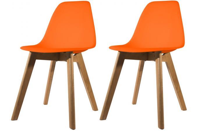 Lot De 2 Chaises Scandinave Coque Orange NORWAY