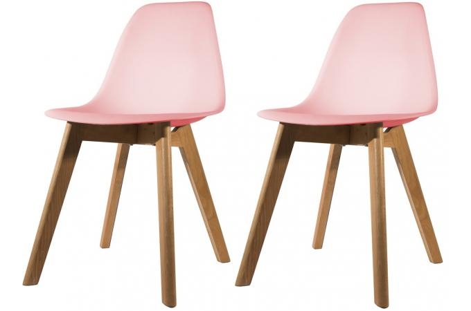 Lot de 2 chaises Scandinave Coque Rose NORWAY