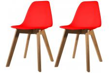 Lot de 2 chaises Scandinave Coque Rouge NORWAY