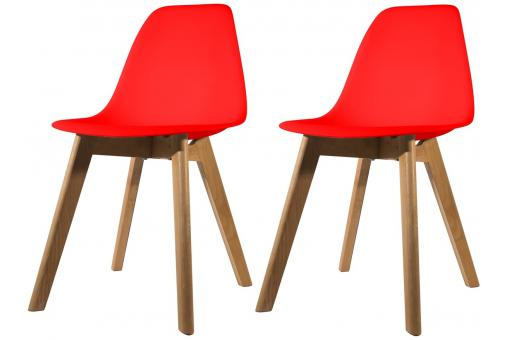 Lot de 2 chaises Scandinave Coque Rouge NORWAY SoFactory