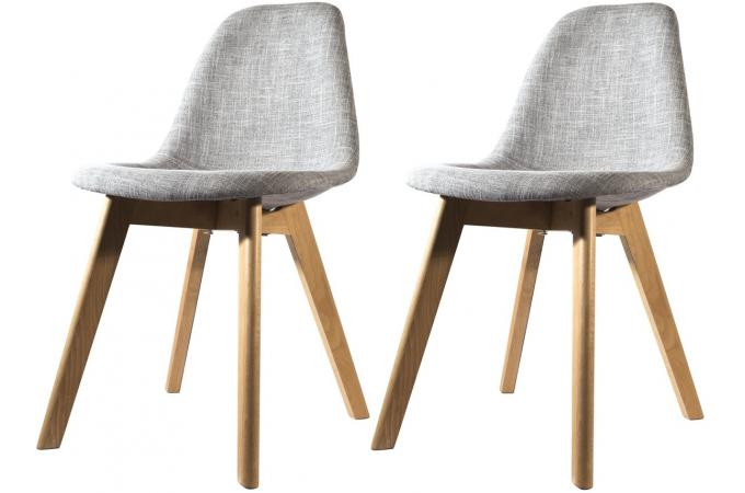 Lot de 2 chaises scandinave en tissu grise norway design - Chaise de bureau grise ...