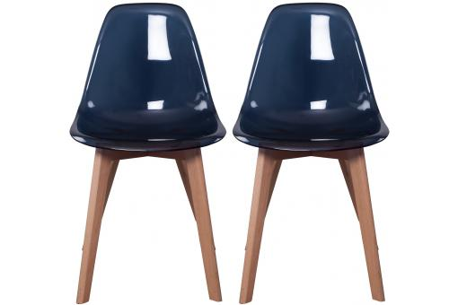 Lot de 2 chaises Scandinave Transparente Noire NORWAY