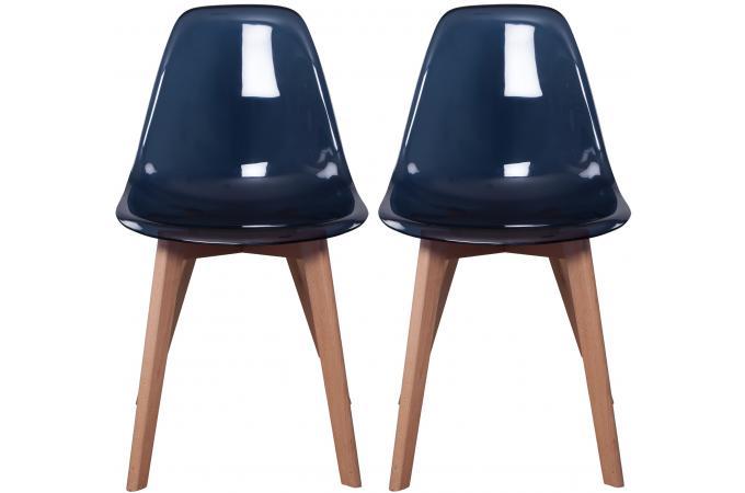 lot de 2 chaises scandinave transparente noire norway design sur sofactory. Black Bedroom Furniture Sets. Home Design Ideas