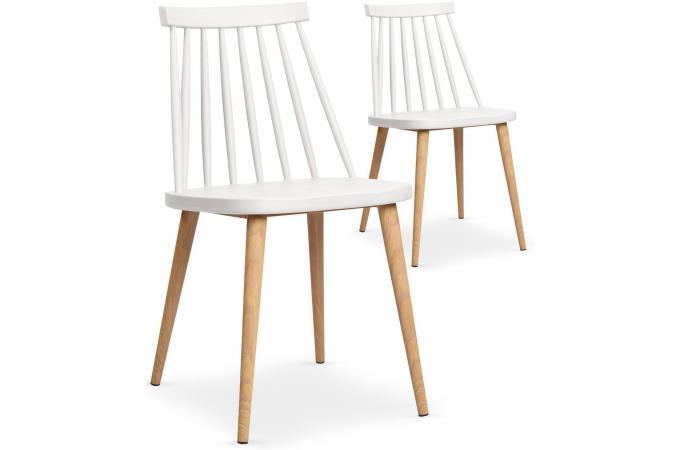 Lot de 2 chaises scandinaves blanches polta design sur - Chaises laquees blanches ...