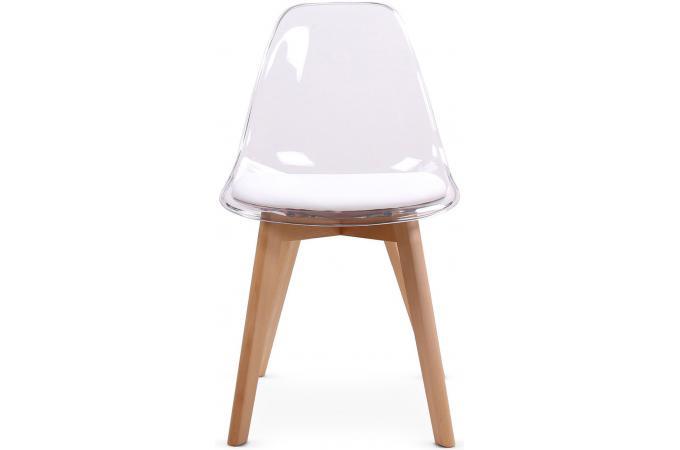 Lot de 2 chaises scandinaves transparentes et coussin blanc LASSO
