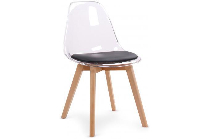 lot de 2 chaises scandinaves en plexi transparent et coussin noir lasso - Chaises Scandinaves Transparentes