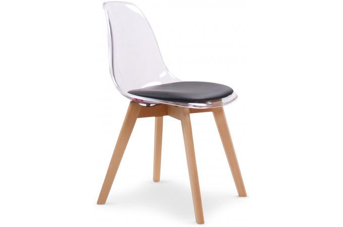 lot de 2 chaises scandinaves en plexi transparent et coussin noir lasso - Chaise Scandinave Transparente