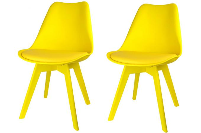 lot de 2 chaises scandinaves jaunes larna - Chaise Jaune Scandinave