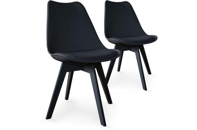 lot de 2 chaises scandinaves noires larna - Chaise Scandinave Noir