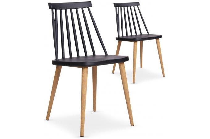 Lot de 2 chaises scandinaves noires polta design sur sofactory for Chaises scandinaves noires