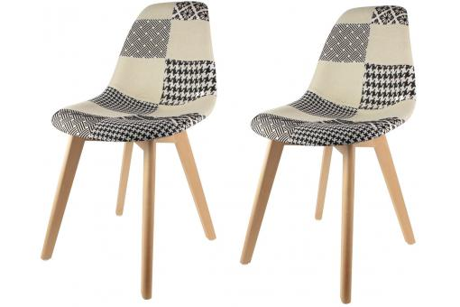 Lot de 2 chaises scandinaves patchwork bicolores NORWAY SoFactory