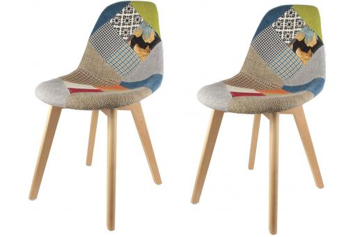 Lot de 2 chaises scandinaves patchwork colorés VILNIUS