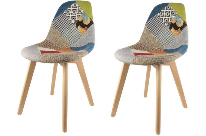 lot de 2 chaises scandinaves patchwork colors norway - Chaise Scandinave Multicolore