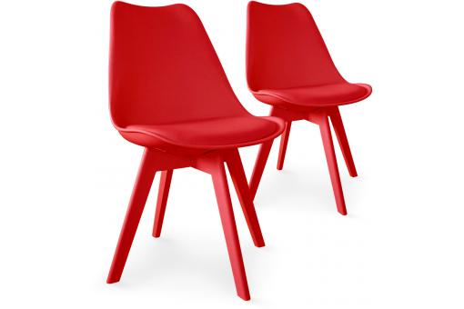 Lot de 2 chaises scandinaves rouges LARNA