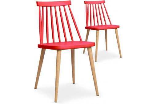 Lot de 2 chaises scandinaves rouges POLTA SoFactory